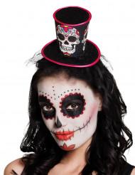 Mini cappello a cilindro per donna dia de los muertos