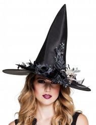 Cappello da strega con teschio e fiori halloween donna