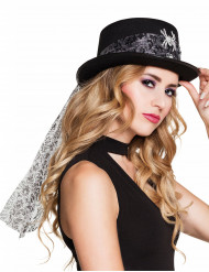 Cappello a cilindro per donna con ragno e velo halloween