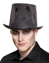 Cappello a cilindro nero con ragnatela adulto halloween