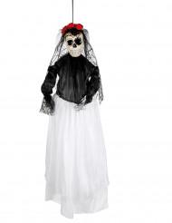 Decorazione a sospensione sposa scheletro 90 cm di de los muertos