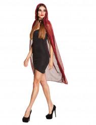 Mantello rosso brillante con cappuccio 140 cm donna halloween