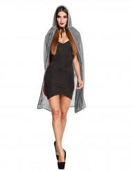 Mantello argentato con cappuccio 140 cm halloween donna