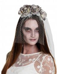 Cerchietto con velo zombie bianco per donna halloween