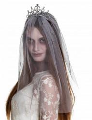 Diadema con velo sposa zombie donna halloween