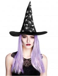 Cappello da strega disegni ragnetti con capelli viola attaccati