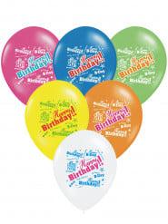 6 palloncini colorati Happy Birthday