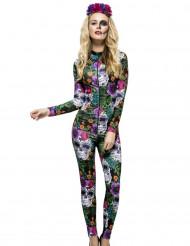 Costume tuta con teschi colorati per donna dia del los muertos