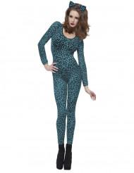 Costume da leopardo blu per donna