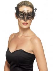 Maschera metallica nera felino donna