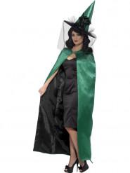 Mantello reversibile Verde e nero da strega Halloween