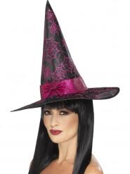 Cappello da strega nero e rosa glitterato Halloween