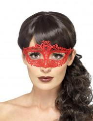 Maschera in pizzo rossa donna