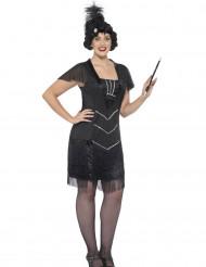 Costume charleston nero con frange per donna