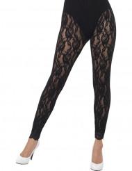 Legging in pizzo nero donna