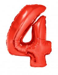 Palloncino alluminio gigante numero 4 rosso 102 cm