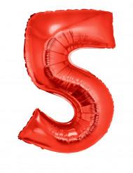 Palloncino alluminio gigante numero 5 rosso 102 cm