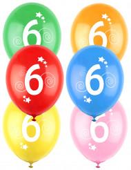 12 Palloncini colori assortiti con numero 6