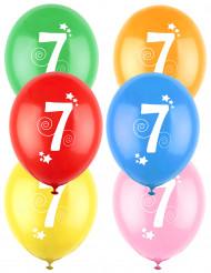 12 Palloncini colori assortiti con numero 7