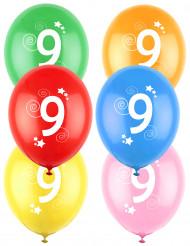 12 Palloncini colori assortiti con numero 9