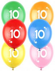 12 Palloncini colori assortiti con numero 10