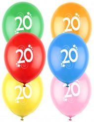 12 Palloncini colori assortiti con numero 20