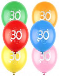 12 Palloncini colori assortiti con numero 30
