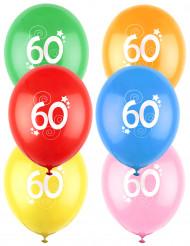 12 Palloncini colori assortiti con numero 60