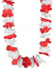 Collana hawaiana bianca e rossa adulto