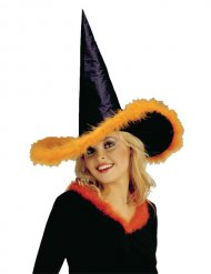 Cappello da strega con piumette arancioni