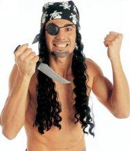 Parrucca con bandaba da pirata per adulti