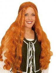 Parrucca lunga rossa con treccia medievale per donna