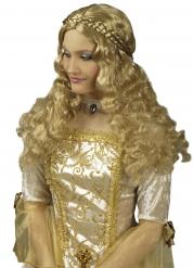 Parrucca lunga con trecce medievale per donna