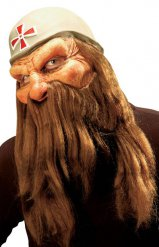 Maschera da soldato con barba e capelli
