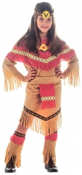 Costume da indiana marrone e rosso per bambina