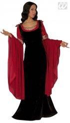 Costume medievale nero e rosso per donna
