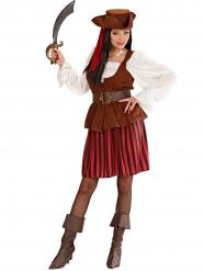 Costume da pirata rosso e nero per donna