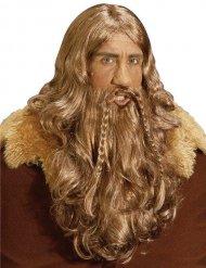 Parrucca lunga con barba da vichingo deluxe adulto