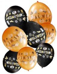 8 palloncini neri e arancioni halloween