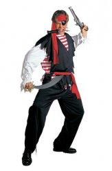 Costume da pirata per uomo nero bianco e rosso