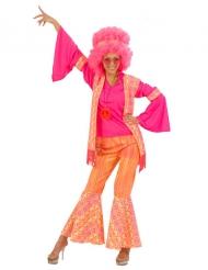 Costume da hippy rosa e arancio per donna