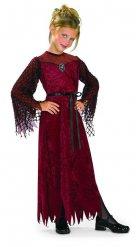 Costume da vampiro gotico rosso e nero per bambina