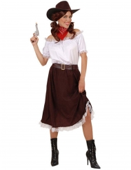 Costume cowgirl bianco e marrone per donna