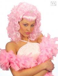 Parrucca rosa da principessa con diadela per donna