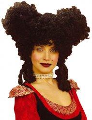 Parrucca barocco nera per donna
