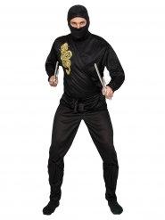 Costume ninja nero e oro per adulto