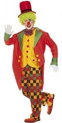Costume da pagliaccio giallo e rosso per uomo