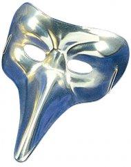 Maschera veneziana con naso lungo argentata adulto