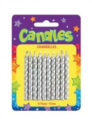 10 candele di compleanno argento
