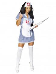 Costume da infermiera sexy bianca e blu per donna